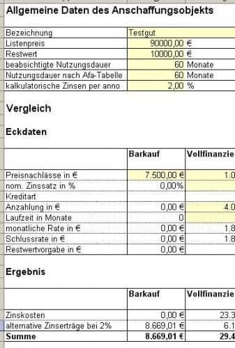 excel tool finanzierungsvergleich mit ms excel leasing vs kreditfinanzierung. Black Bedroom Furniture Sets. Home Design Ideas