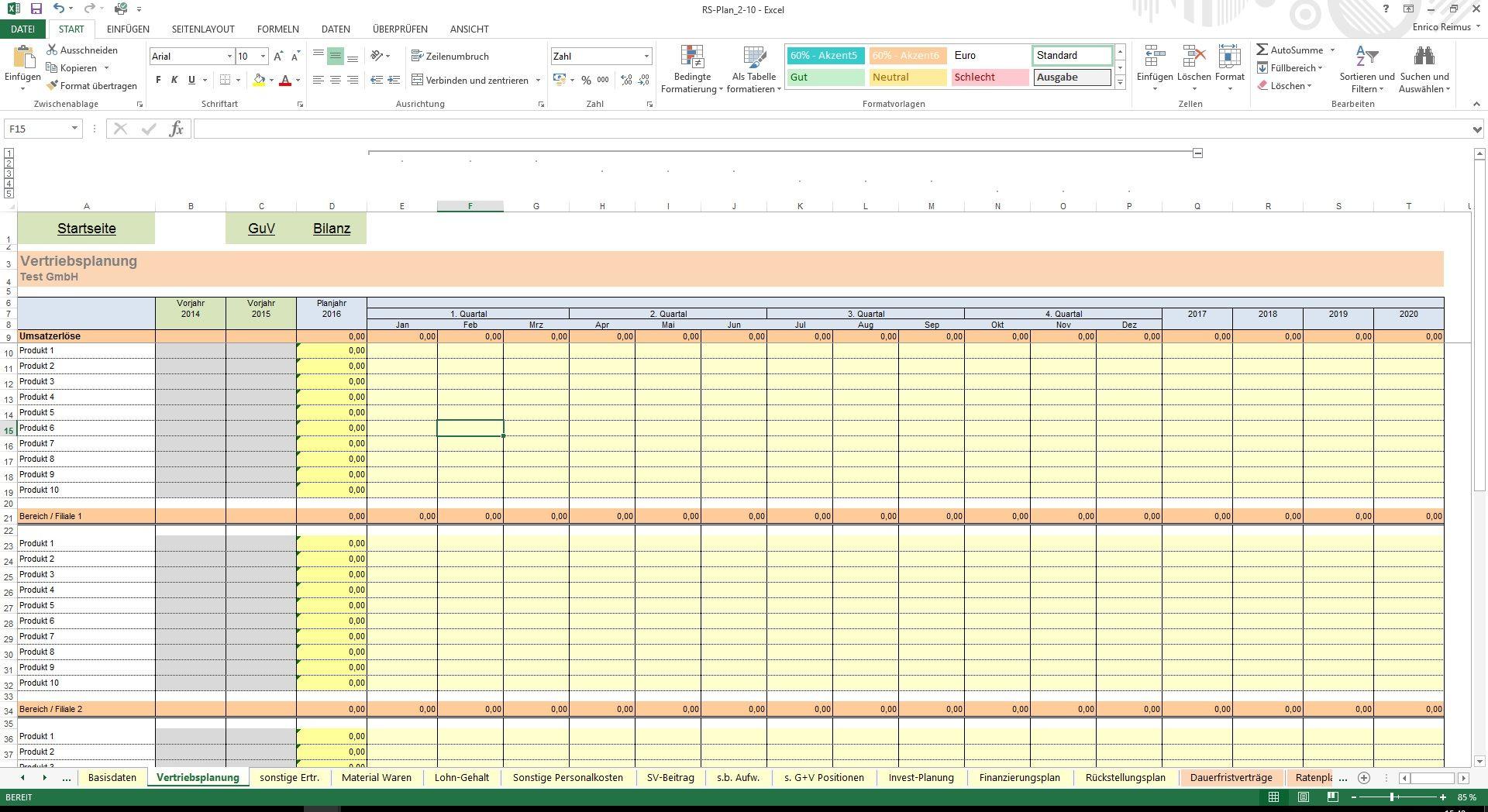 Wunderbar Excel Vorlage Gewinn Und Verlustrechnung Bilder - Entry ...