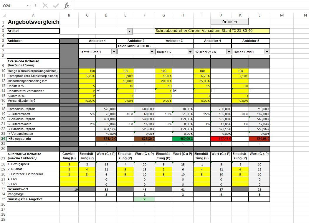31 Erstaunlich Angebotsvergleich Excel Vorlage 4