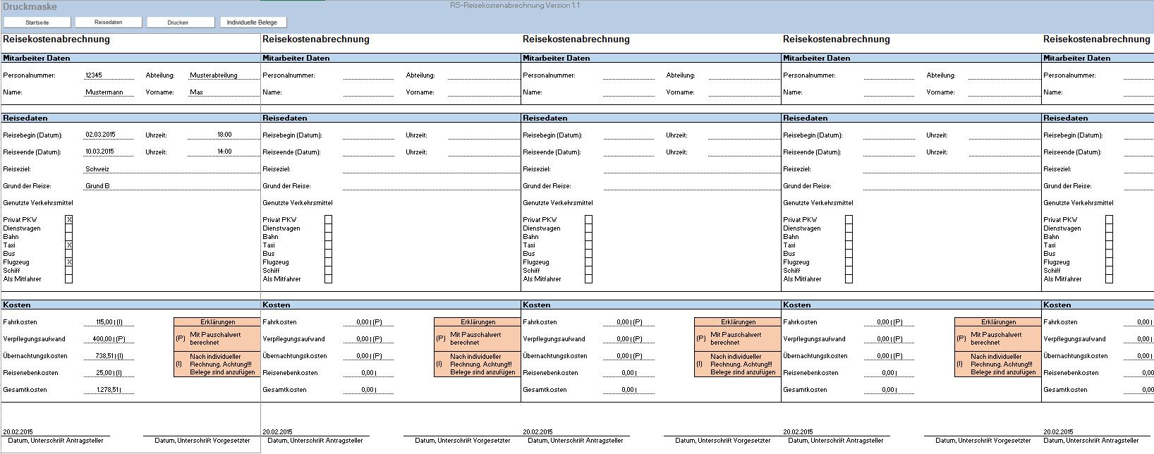 Excel-Vorlage Reisekostenabrechnung