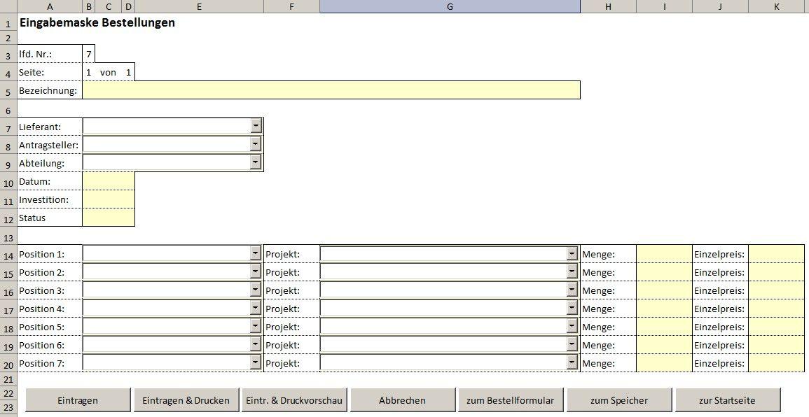 Einkaufsverwaltung- Verwaltung von Bestellungen mit Excel