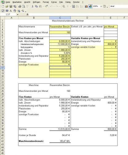 Kostenloses Excel Tool Maschinenstundensatz Rechnung Berechnung