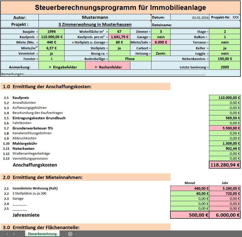 Excel Vorlagen Paket Steuer Nebenkosten Und Rendite Berechnung