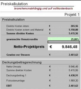 Excel Tool Preiskalkulation 7