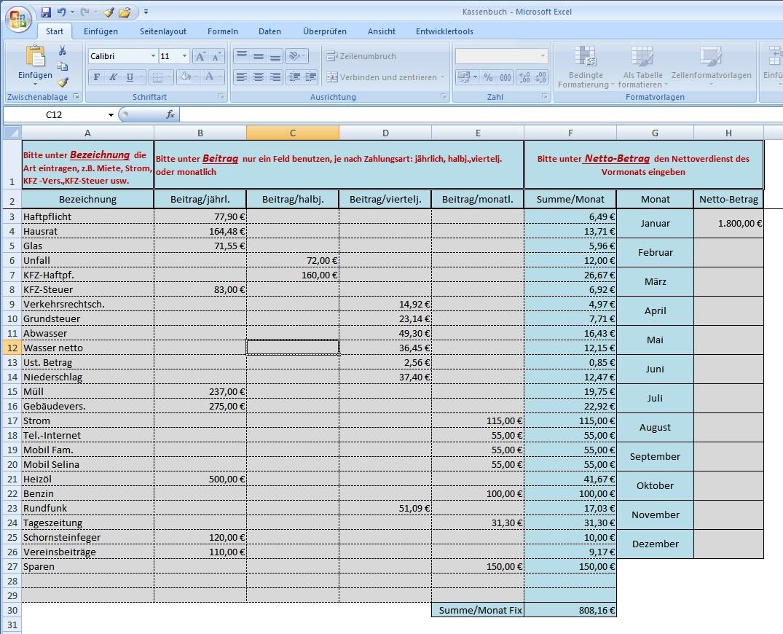 Excel-Vorlage / Tool: Haushaltsbuch / Kassenbuch