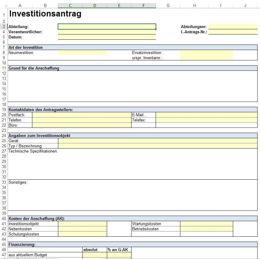Vorlage - Formular für Investitionsplanung, Investitionsantrag