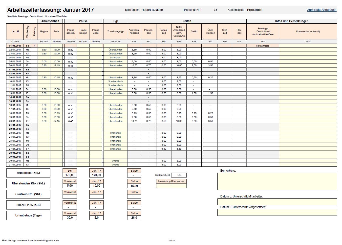 Schön Xls Stundenzettel Vorlage Ideen - Entry Level Resume Vorlagen ...