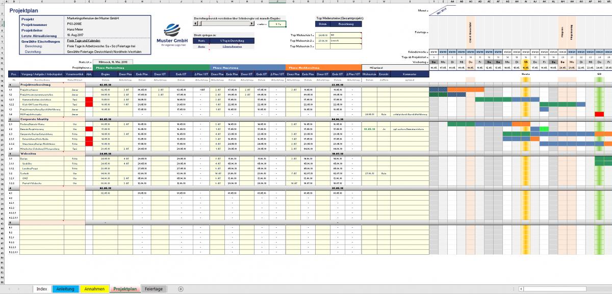 Excel-Projektplanungs und -management-Tool